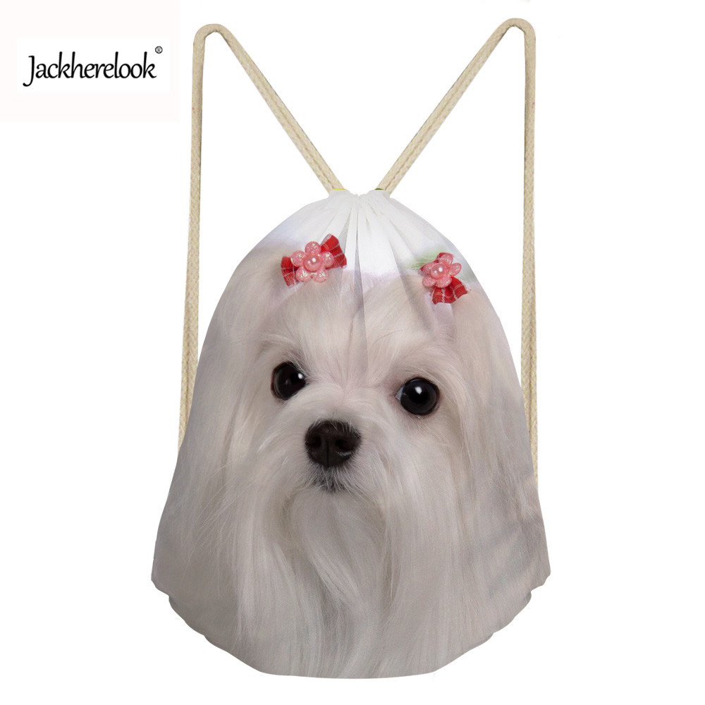 Jackherelook Drawstring Bags Women Animal Maltese Dog Cute 3D Printing Bags Small Ladies Mochila Cinch Sack