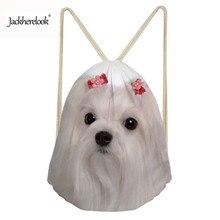 Jackherelook Drawstring Bags Women Animal Maltese Dog Cute 3D Printing Bags Small Ladies Mochila Cinch Sack Feminina Sac a dos