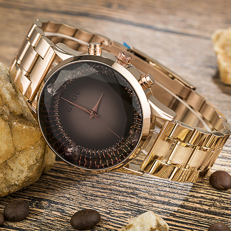 2017 New Arrival GUOU Full Stainless Steel Waterproof Quartz Analog Wrist Watch Wristwatches for Women Female Rose Gold Black new arrival chenxi 3 eyes sport waterproof steel quartz wristwatches wrist watch for men male 036a silver