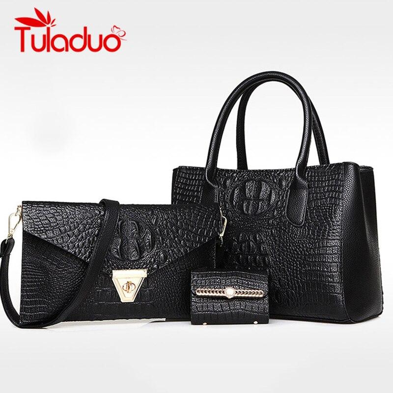3 Sets Women Leather Handbag Messenger Composite Bags Ladies Designer Handbags F