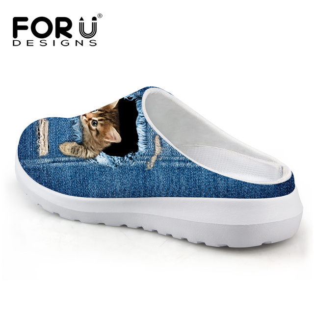 FORUDESIGNS Cute Pet Cat Denim Printed Women Sandals Light Weight Slip-on Summer Beach Water Shoes Female Loafers Breathable