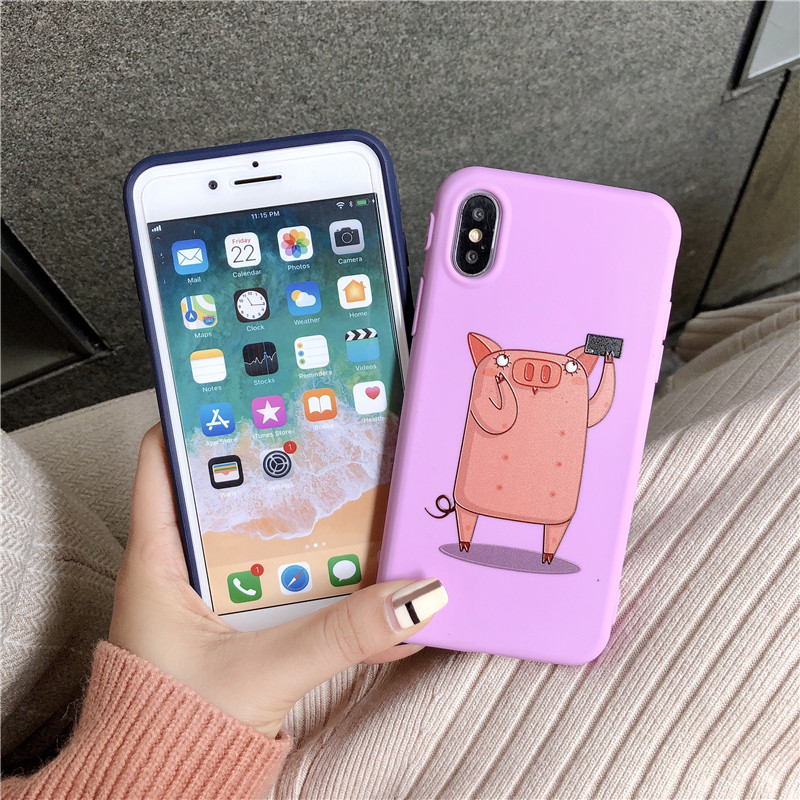 3D Relief Patterned Case For iPhone X Xr Xs Xs Max Cartoon pig Cases For iPhone 6s 6 7 8 Plus