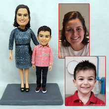 mother and child son customize polymer clay doll figurine from picture photo birthday cake party favor figurines miniature
