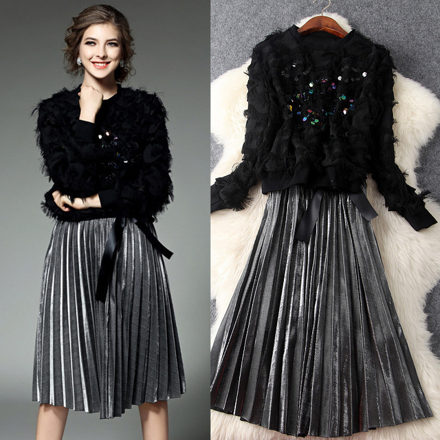 2017 Spring Runway Designer Two Piece Set Women Clothing Black Beaded Sequins Eyelash Edge Tops + Silver Pleated Skirt Suit