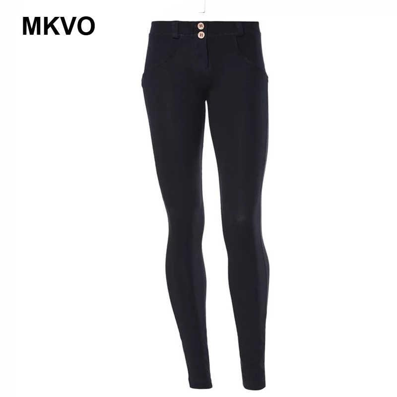 Pantalones ceñidos sexis elásticos de cintura alta de las señoras de los pantalones clásicos del lápiz del dril de algodón azul negro pantalones vaqueros de las señoras de la calle de alta talla grande