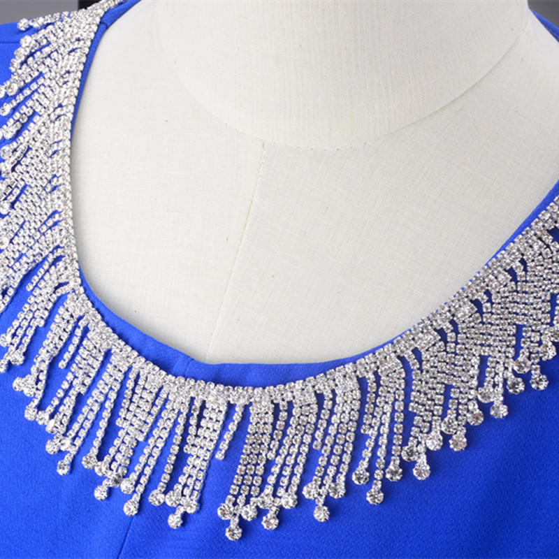 Free shipping 5cm width 1yard lot Crystal rhinestone tassel clear chain applique  bridal dress trim sew on garment craft banding 1d9c92dfbe3c