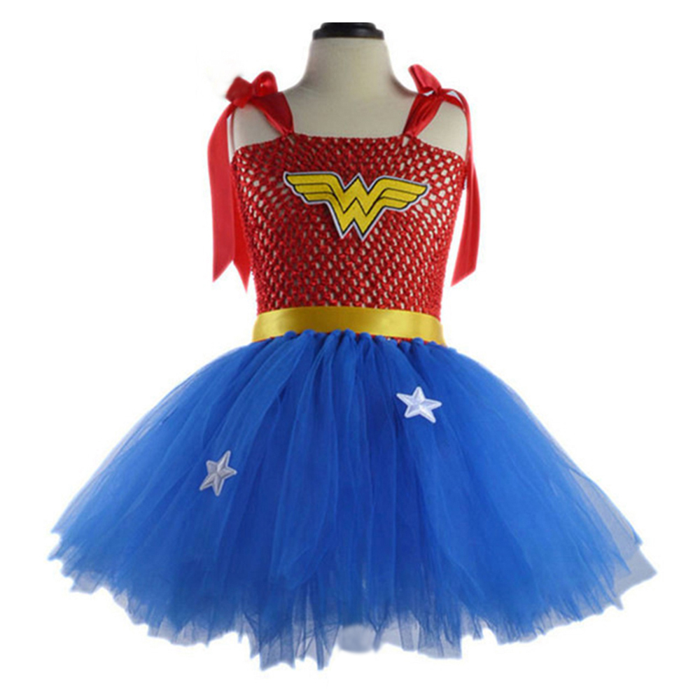 Wonder Woman Kids Superman Dresses 2017 The New Cute Red -6235