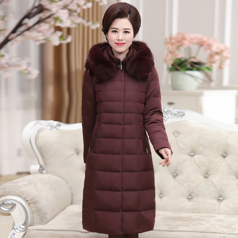 In the old section of a  section of down jacket women winter mother fitted thick code large loose coat tide plus long paragraph 2017 winter coat grandma installed in the elderly women 60 70 80 years old down jacket old lady tang suit
