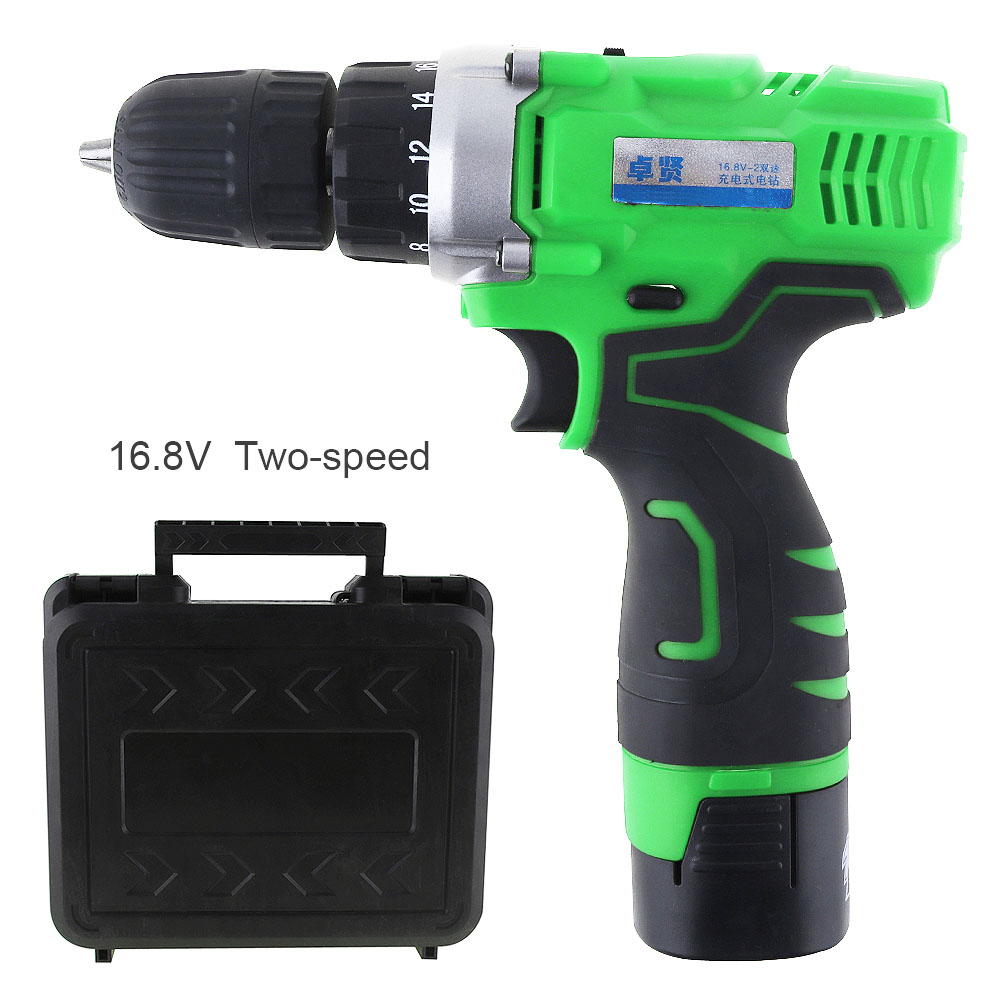 16.8V Cordless Electric Drill Tool Box with Li-ion Batteries and Two-speed for Household Multi-function Electric Power tools drill buddy cordless dust collector with laser level and bubble vial diy tool new