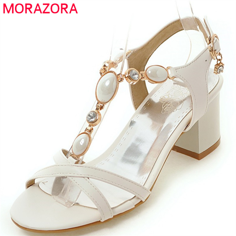 MORAZORA 2018 new arrival women sandals sweet crystal summer shoes simple buckle causal ladies shoes square high heels shoes