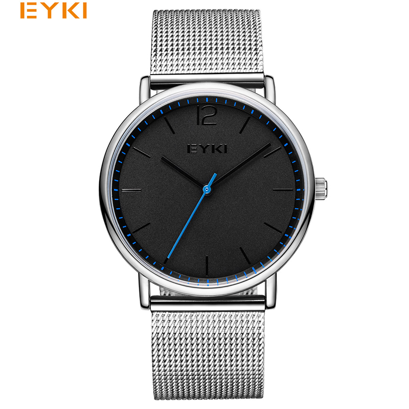 Hearty Eyki Brand Couple Weave Mech Strap Watches Simple Milanese Stainless Steel Men Women Casual Dress Watch Ultra Thin Relogio Gift Watches