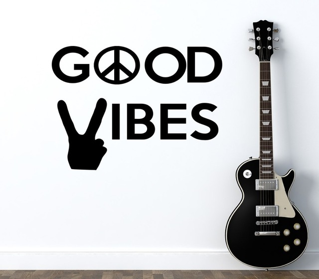 Peace World Wall Decal Quotes Good Vibes Vinyl Stickers Peace Sign Art  Mural Hand Pattern Modern