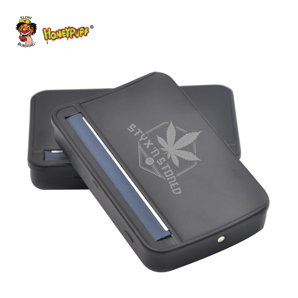 Honeypuff 1 pc Black Metal Rolling Machine Smoking Case Rolling Machine Box for 110mm papers Cigarette Roller Rolling Machine