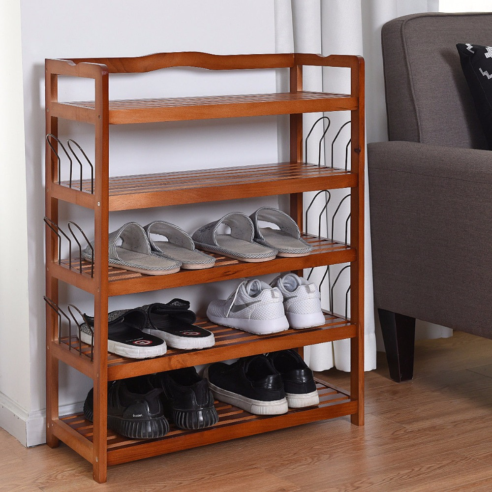 Giantex 5-Tier Wooden Shoe Rack Shelf Storage Organizer Entryway W/ 6 Shoe Stretcher Living Room Furniture HW57486