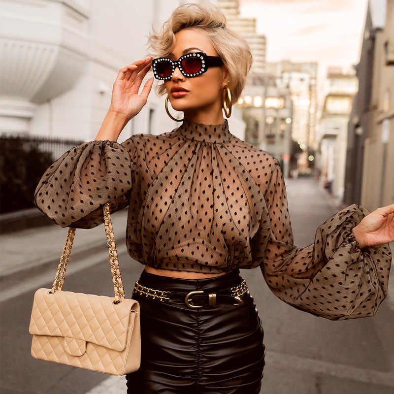 Polka dot print tops blouse vrouwen Mesh sheer lantaarn mouw transparante tops Dames see through zomer top Stippen blusas 2019