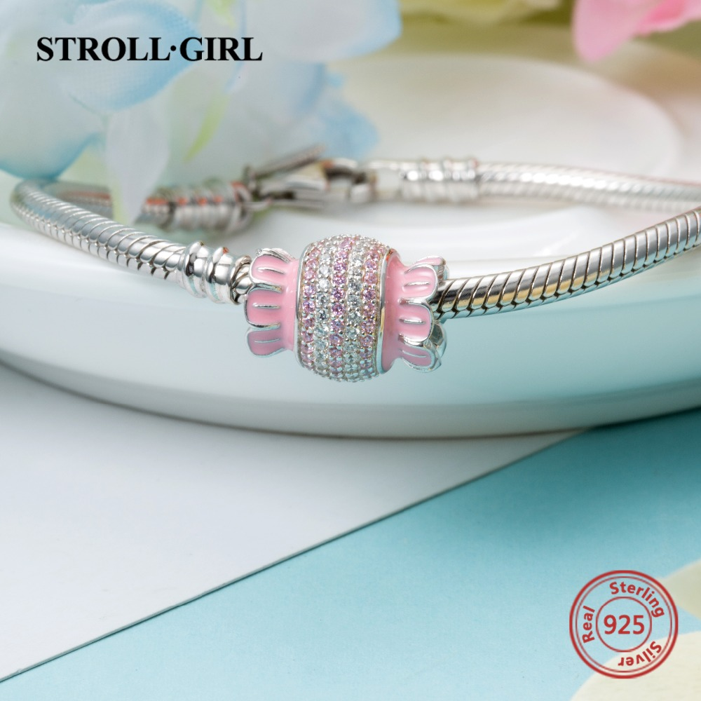New arrival 925 sterling silver candy Beads with Pink white CZ fit Pandora bracelet DIY fashion jewelry Making for women gift in Beads from Jewelry Accessories