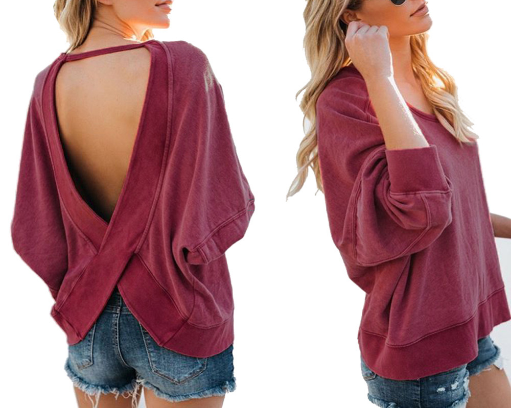 Hitmebox 2018 Newly Autumn Winter Sexy Womens Irregular Crossing Backless Casual Loose Pullover Blouse Sweatshirts Top Shirts