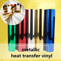 1 roll 50cmx25m Metal light Heat Transfer Vinyl Sequins PU Heat Press Tshirt Iron On HTV Printing 17 Colors For Choose SALE