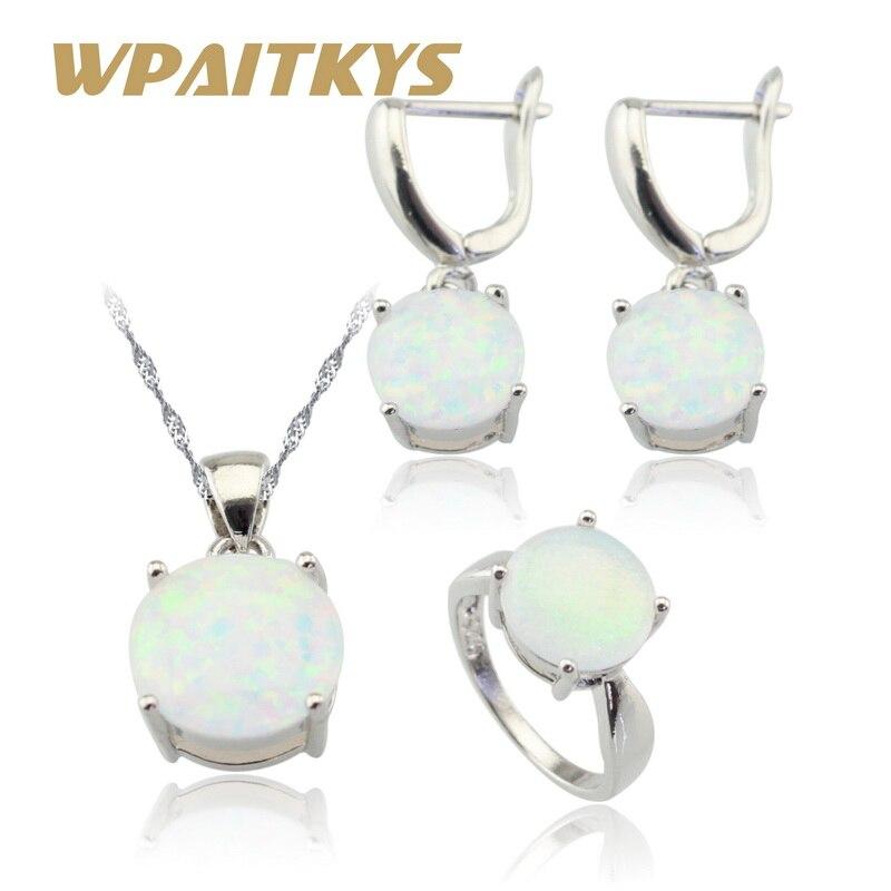 Australien Weiß Opal Steine Silber Farbe Schmuck Sets Für Frauen Halskette Anhänger Ohrringe Ringe Weihnachten Geschenk Freies Box Schmuck & Zubehör