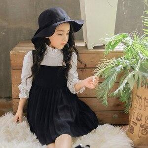 Детское весеннее платье принцессы в английском стиле, новая модная полосатая рубашка с длинными рукавами, плиссированное платье с вышивкой...