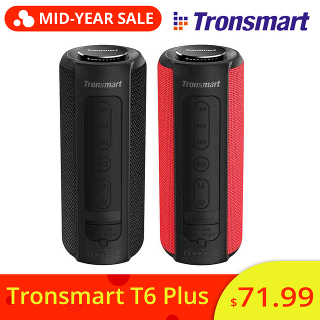 NEW Tronsmart Element T6 Plus 40W TWS SD TF Portable Bluetooth Speaker IPX6 Waterproof Outdoor Portable Mini Speaker For Phones