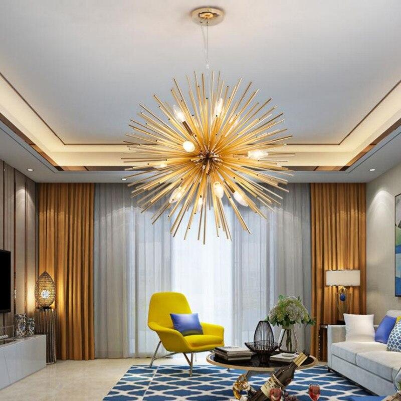 Abajur Nordique Moderne Salon Chambre Restaurant Golden Rond Boule Lustres Éclairage D'art Pissenlit E14 LED Maison Hanglamp