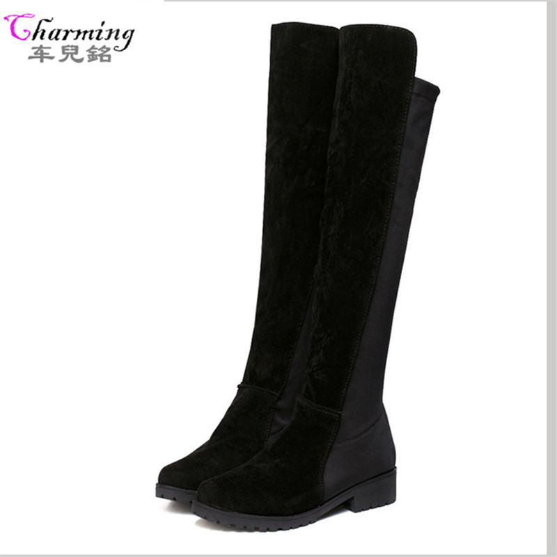 2015 hot autumn winter women boots over knee fashion shoes woman platform high heels high quality flock gorgeous ladies autumn winter high quality hot sale genuine leather over the knee boots platform buckle long women boots
