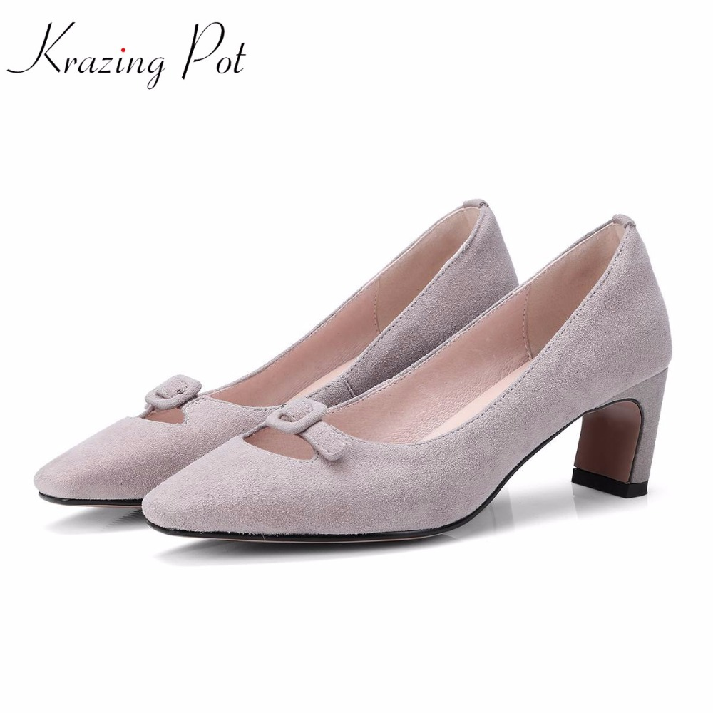 krazing Pot sheep suede metal buckle women pumps thick high heels square toe summer concise style office lady shallow shoes L5f2 krazing pot empty after shallow shoes woman lace work flats pointed toe slip on sheep suede causal summer outside slippers l16