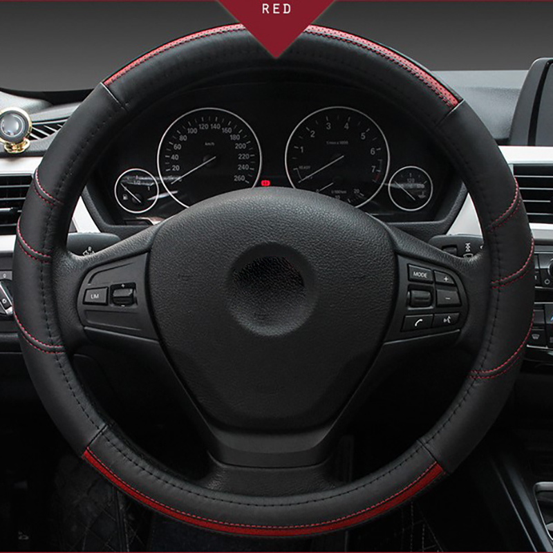 Car Steering Covers Steering Wheels Hubs Top Layer Leather 38cm Seasons General Auto Stying Interior Accessories