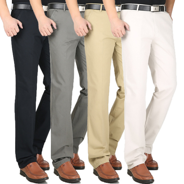 Mens Loose Business Casual Pants Plus Size 30-44 Straight Pants Male Cotton  High Quality cotton leisure trousers Summer Spring 430d2ca942b3
