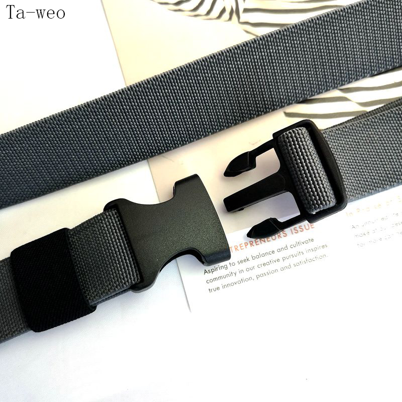 Casual 1.2 Wide Elastic Canvas Belts For Men Tactical Waist Belt Plastic Plugging Buckle Belt For Women High Quality