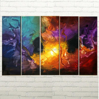 Hand Painted 5 panels group Modern Wall Abstract Painting Colorful Artwork on Canvas Home wall Decoration picture art