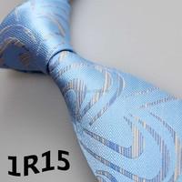 2018 Latest Style Designer Necktie Light Blue/Blue/White Geometric Floral Design Men's Neck Tie&Designer Ties&Men's Dresses Ties