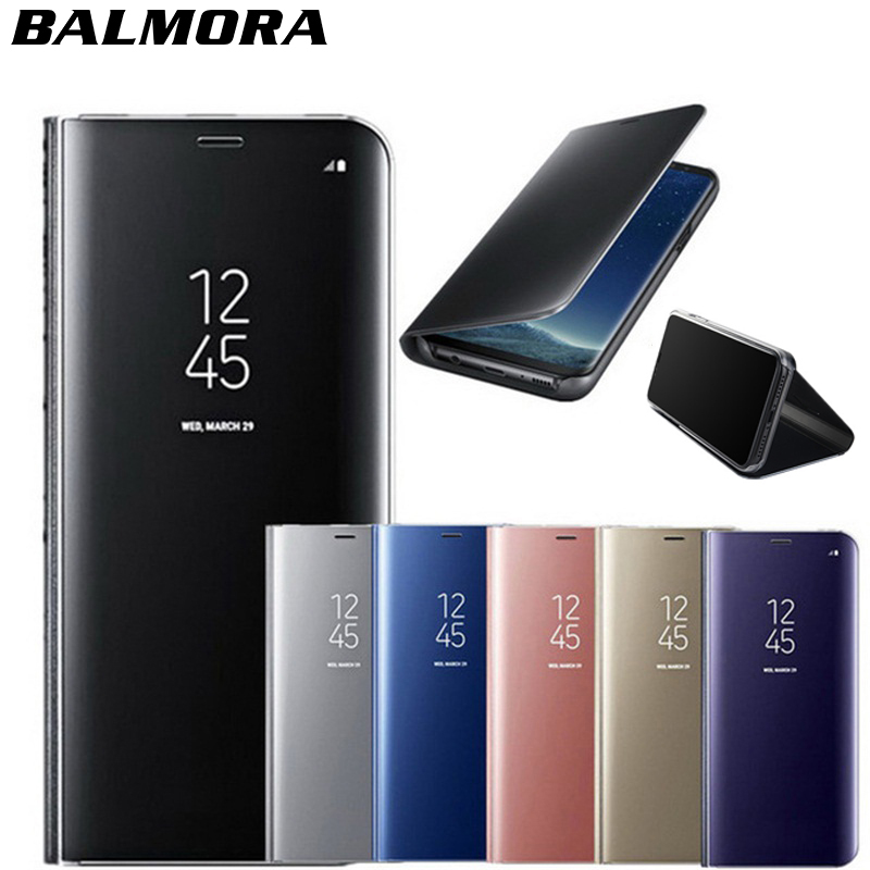 BALMORA Mirror Flip Stand Case For Iphone 6 6s 7 8 Plus X Clear View Window Smart Holder Cases For IPhone 7 8 Plus Leather Cover