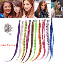 50pcs Straight Multicolor Synthetic Hair Feathers For Extension Party Clothing Hair Accessory multicolor synthetic hair feather(China)