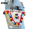 Colorful Pompon Summer Fashion Straw Weave Woven Shoulder Shopper Bag Thailand Boho Indian Beach Bag Women Luxury Brand Handbags