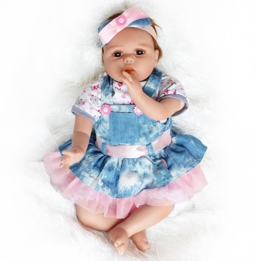 Image 4 - 55cm Realistic Reborn Baby Doll Soft Silicone Stuffed Lifelike Baby Doll Toy Ethnic Doll For Kids Birthday Christmas Gifts-in Dolls from Toys & Hobbies