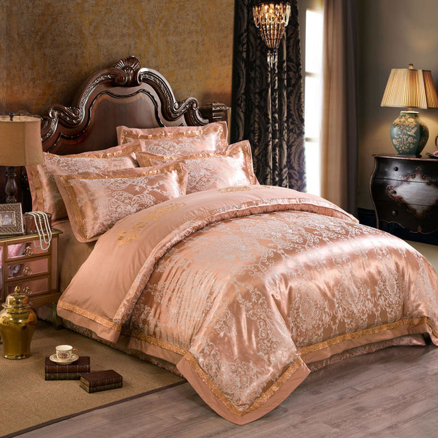 noble european style bedding sets retro calico print silk cotton jacquard queenking size sheets