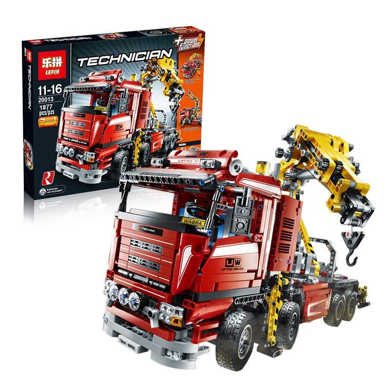 new lepin 20013 technic series 1877pcs the electric crane truck model building blocks bricks. Black Bedroom Furniture Sets. Home Design Ideas