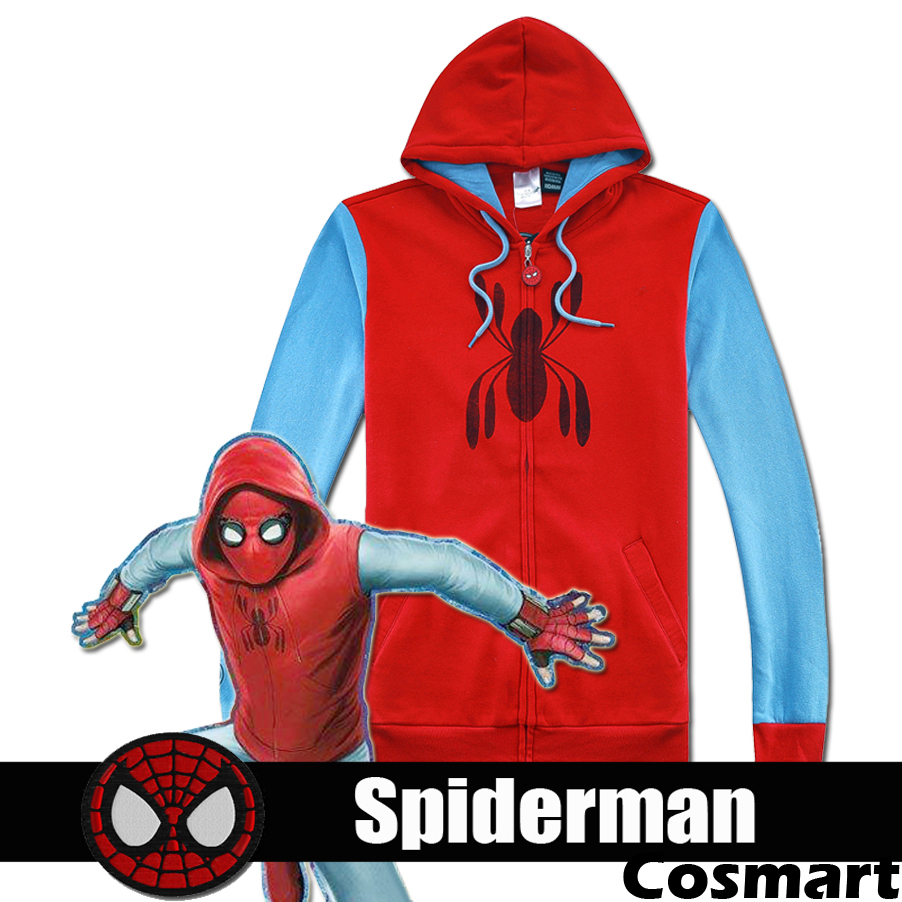 [Few STOCK]S-3XL Plus size Spiderman Homecoming Fleece Hoodie Top Jacket Spider-Man zipper Head High Quality New 2018