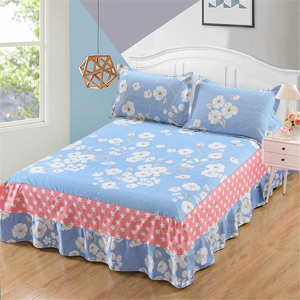 100%綿の寝具セットの豪華なピンク赤青花結婚式の装飾ベッドスカート枕カバーキング女王フルツイン