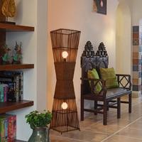 Chinese style bamboo floor lamps LED lamp room study rattan vertical creative Retro floor light ZA81020
