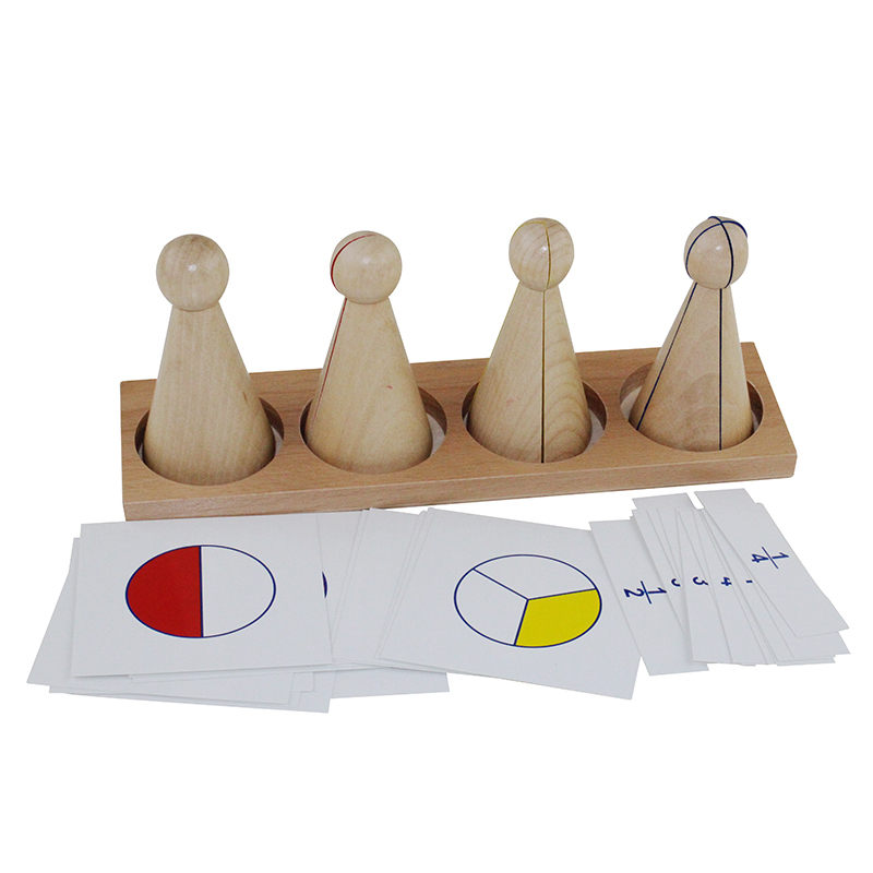 Baby Montessori Math Toy Large Fraction Skittles And Cards Early Education Training Toy