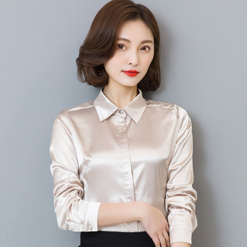 Stinlicher Satin Silk   Shirt   Women spring Autumn Long Sleeve Elegant Work Wear Tops Korean Fashion White Blue Black   Blouse     Shirt