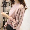 M-4XL 2017 Spring Women clothing Plus size Ruffles Chiffon blouse Fashion Solid color Long sleeve shirt Beaded Women Tops
