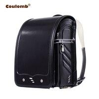 Coulomb малыш черный рюкзак для мальчиков и девочек школьная сумка Твердые Hasp японский PU водостойкий ортопедический Randoseru Детские рюкзаки