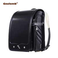 Coulomb Kid Black Backpack For Boy And Girl School Bag Solid Hasp Japanese PU Waterproof Orthopedic Randoseru Children Backpacks