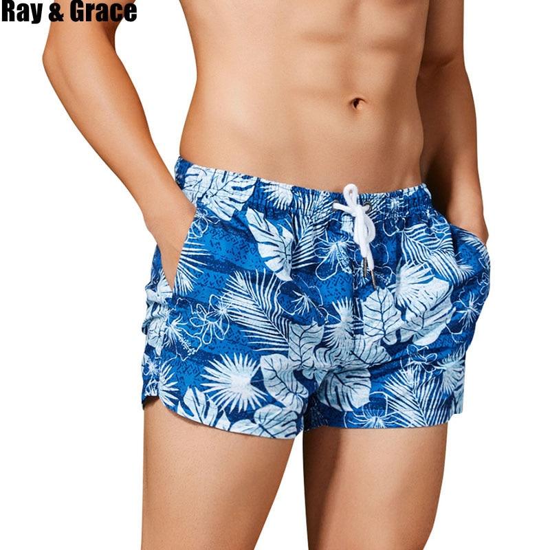 RAY GRACE Beach Board Shorts Men Breathable Quick Dry Trunks Male Surfing Swim Shorts High Quality Swimsuit Bermudas Beachwear
