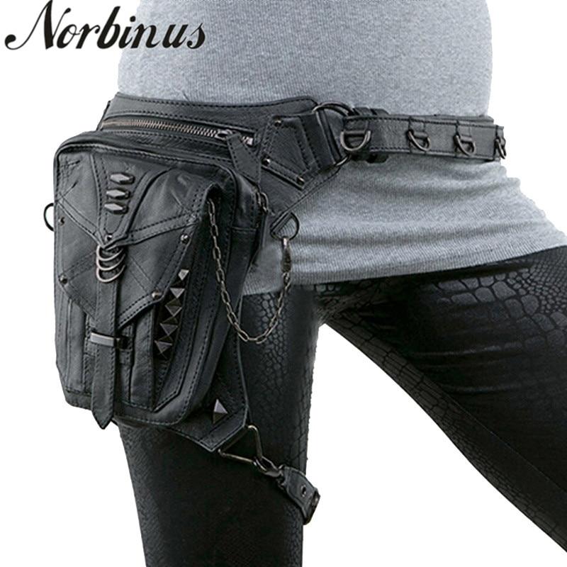 Steampunk Women Waist Bag Gothic Fanny Packs Motorcycle Hip Leg Bag Female Holster Shoulder Bag Leather Crossbody Bags For Men
