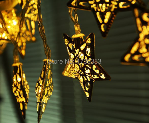 free shipping silver metal stars pendant led string lights christmas party decorative lighting. Black Bedroom Furniture Sets. Home Design Ideas